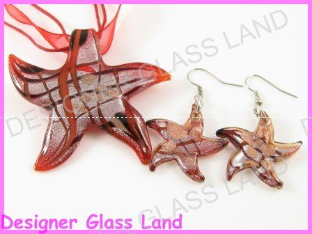 PE093 LAMPWORK GLASS RED STAR PENDANT EARRINGS SET  **free shipping**