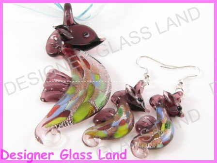 PE094 LAMPWORK GLASS PP SEAHORSE PENDANT EARRINGS SET