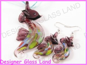 PE094 LAMPWORK GLASS PP SEAHORSE PENDANT EARRINGS SET