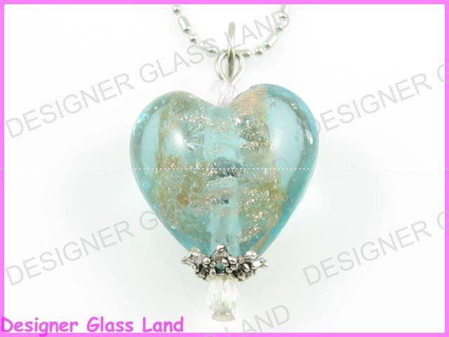 P715F LAMPWORK GLASS AQUA HEART SILVER PENDANT NECKLACE
