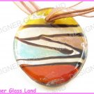 P724F LAMPWORK GLASS PATTERN OVAL PENDANT NECKLACE