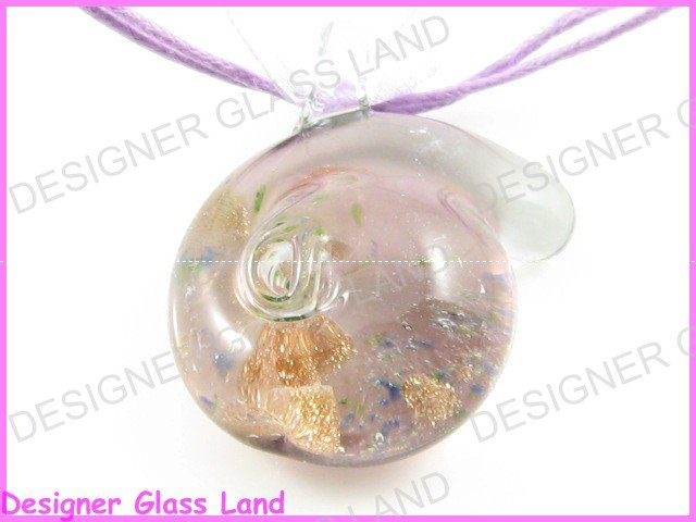 P743F LAMPWORK GLASS LILAC SNAIL PENDANT NECKLACE GIFT