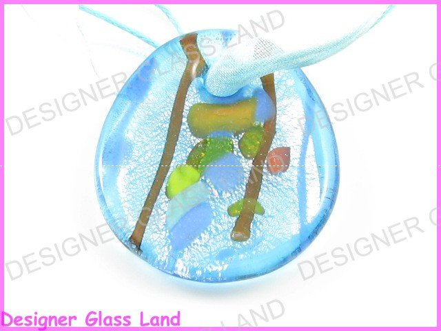 P748F LAMPWORK GLASS BLUE OVAL PENDANT NECKLACE GIFT