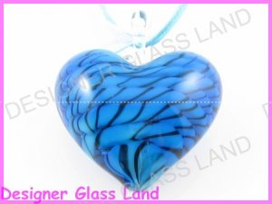 P754FLAMPWORK GLASS TURQUOISE 3D HEART PENDANT NECKLACE