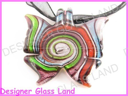 P755F LAMPWORK GLASS FAIRY BUTTERFLY PENDANT NECKLACE