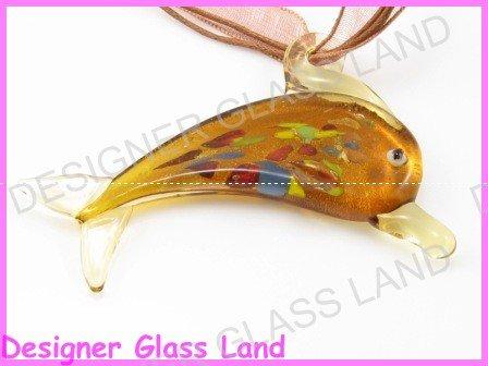 P768F LAMPWORK GLASS TOPAZ DOLPHIN PENDANT NECKLACE