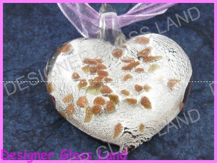 P802F LAMPWORK GLASS SILVER HEART PENDANT NECKLACE