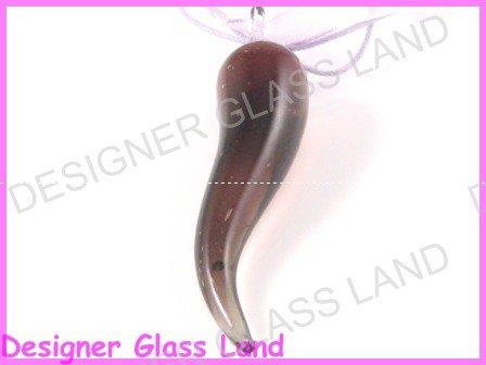 P821F LAMPWORK GLASS PURPLE PEPPER PENDANT NECKLACE