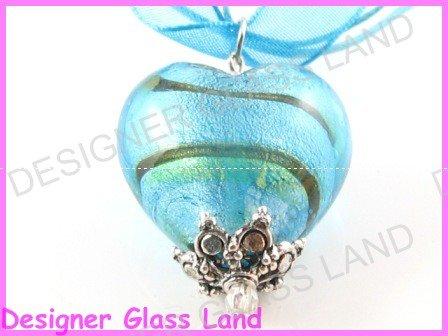 P822F LAMPWORK GLASS BLUE SILVER HEART PENDANT NECKLACE