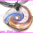 P823F LAMPWORK GLASS MAGIC SWIRL ROUND PENDANT NECKLACE