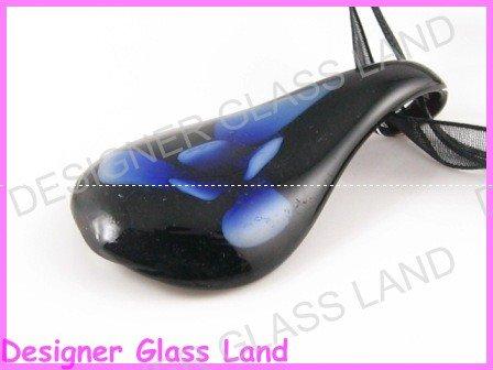 P825F LAMPWORK GLASS 3D BLUE FLOWER PENDANT NECKLACE