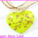 P843F LAMPWORK GLASS YELLOW HEART PENDANT NECKLACE