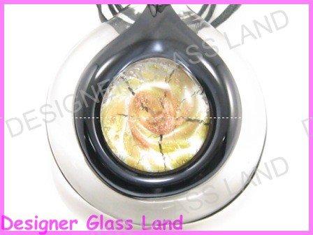 P858F LAMPWORK GLASS BLACK PENDANT NECKLACE