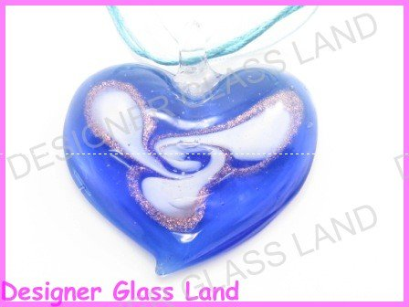 P860F  LAMPWORK GLASS NAVY HEART PENDANT NECKLACE