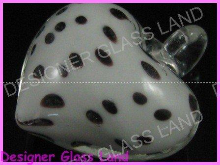 P867F LAMPWORK GLASS DALMATIAN HEART PENDANT