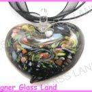 P869F LAMPWORK GLASS BLACK HEART PENDANT NECKLACE
