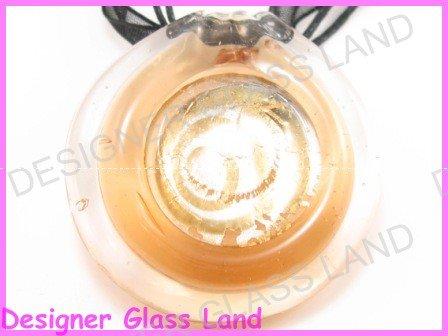P884F LAMPWORK GLASS GOLDEN ROUND PENDANT NECKLACE