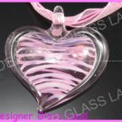 P913F LAMPWORK GLASS PINK HEART PENDANT NECKLACE GIFT