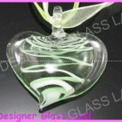 P914F LAMPWORK GLASS GREEN HEART PENDANT NECKLACE GIFT