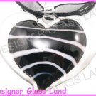 P915F LAMPWORK GLASS BLACK HEART PENDANT NECKLACE GIFT