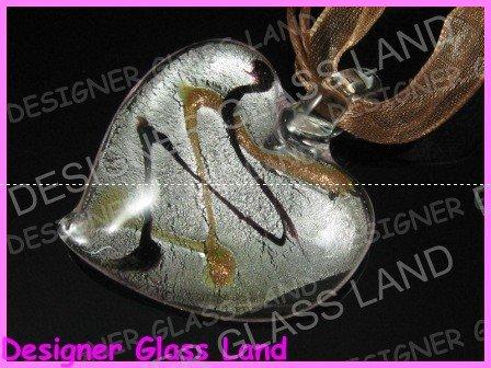 P998F LAMPWORK GLASS STRIP HEART PENDANT NECKLACE