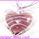 P916F LAMPWORK GLASS PURPLE HEART PENDANT NECKLACE GIFT