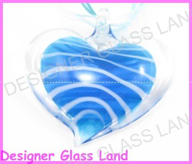 P917F LAMPWORK GLASS BLUE HEART PENDANT NECKLACE GIFT