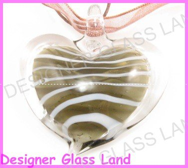 P920F LAMPWORK GLASS SMOKY HEART PENDANT NECKLACE GIFT