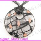 P934F LAMPWORK GLASS SMOKY ROUND PENDANT NECKLACE