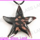 P936F LAMPWORK GLASS BLACK STAR PENDANT NECKLACE