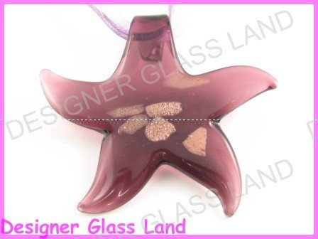 P937F LAMPWORK GLASS PURPLE STAR PENDANT NECKLACE