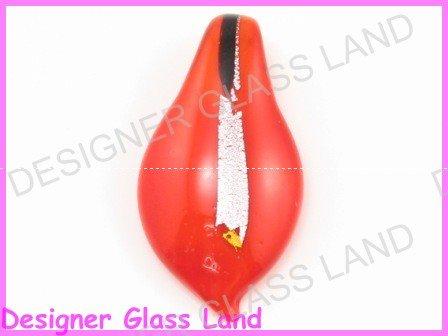 P940F LAMPWORK GLASS RED SILVER FOIL LEAF PENDANT