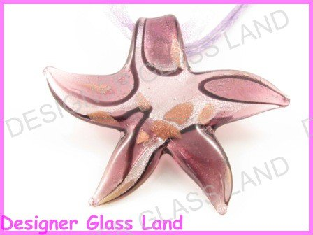 P988F LAMPWORK GLASS PURPLE STARFISH PENDANT NECKLACE