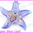 P989F LAMPWORK GLASS NAVY STARFISH PENDANT NECKLACE