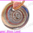 P990F LAMPWORK GLASS SWIRL ROUND PENDANT NECKLACE
