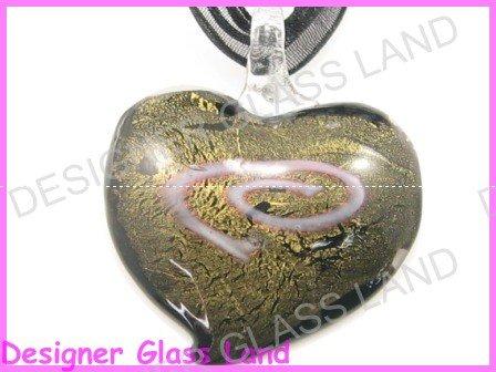 P995FLAMPWORK GLASS BLACK GOLDEN HEART PENDANT NECKLACE