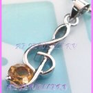 AP474F LOT 6PCS TOPAZ MUSIC NOTE RHINESTONE 18KGP PENDANT