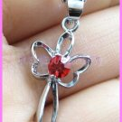 AP491F RUBY RED RHINESTONE BUTTEERFLY SILVER PENDANT