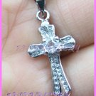 AP488F 4MM CROSS RHINESTONE 18KGP PENDANT