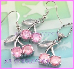AS376F 8MM SAPPHIRE CHERRY SILVER PENDANT EARRINGS SETS