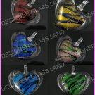 AW386 6PCS LOT LAMPWORK GLASS HEART PENDANT