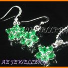 "AS020F Emerald Floral Round Cut 18K White Gold Plated Pendant Earrings Set 16"" Necklace"