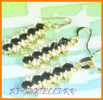 """AS034AF Black Sapphire White Topaz 18K Yellow Gold Plated Pendant Necklace Earrings Set 16"""""""