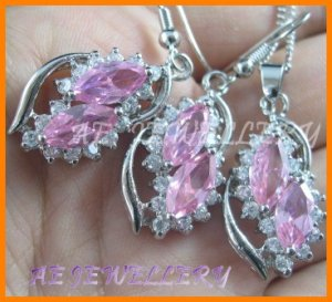 """AS193F Pink Sapphire White Topaz 18K White Gold Plated Pendant Necklace Earrings Set 16"""""""