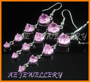 """AS194F Pink Sapphire Heart Cut 18K White Gold Plated Pendant Necklace Earrings Set 16"""""""