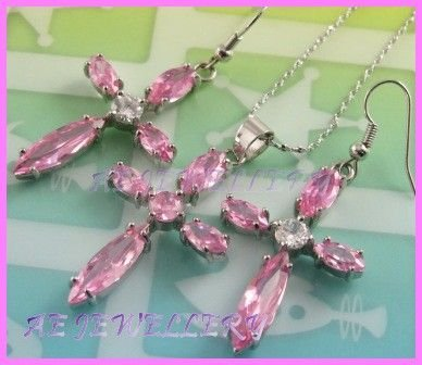 """AS230AF Pink Sapphire Topaz Cross 18K White Gold Plated Pendant Dangle Earrings Set 16"""""""