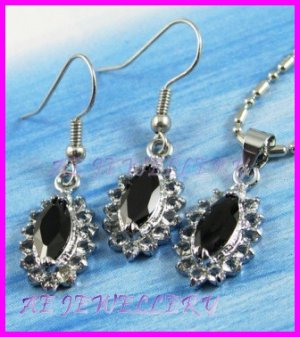 AS233F Black Sapphire Glass Silver Plated Pendant Earrings Set (Necklace not included)