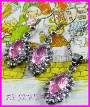 AS234F Pink Sapphire Glass Silver Pendant Earrings Set (Necklace not included)