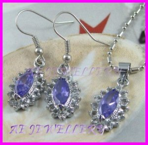 AS235F Amethhyst Glass Silver Pendant Earrings Set (Necklace not included)