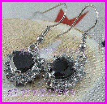 AS236F Black Sapphire Glass Silver Pendant Earrings